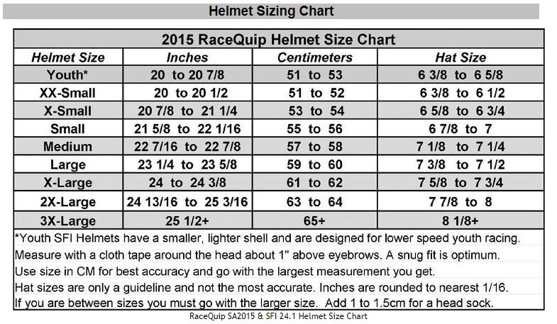 RaceQuip Helmet Size Chart